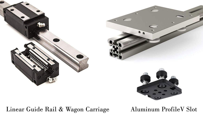 مقایسه ریل واگن و ریل وی (اکستروژن آلمینیوم): قطعه مکانیک چاپگرهای سه بعدیFDM