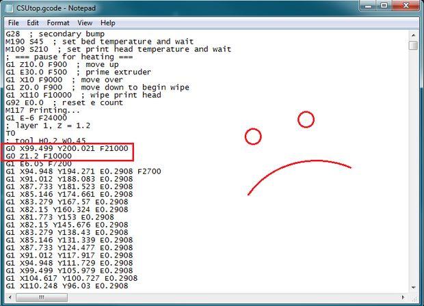 حالت غلط اول دو خط کد GCode